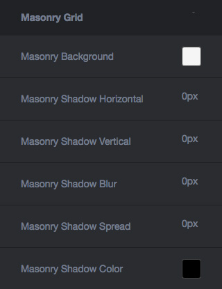 Theme Design Options - Masonry Grid